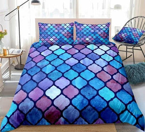 Watercolor Geometric Blue Purple Mosaic Bedding Set - Beddingify