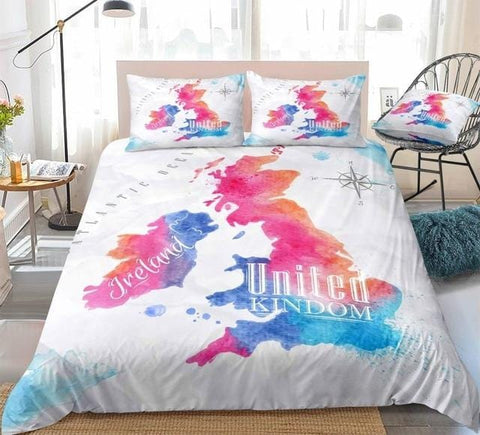 Colorful Watercolor Abstract United Kingdom Map Bedding Set - Beddingify
