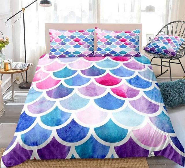 Rainbow Mermaid Scales Bedding Set - Beddingify