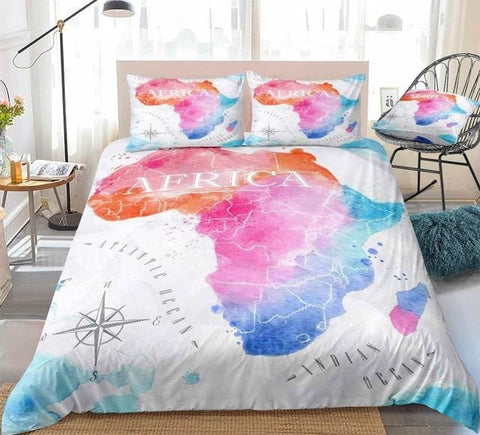 Colorful Watercolor Abstract Africa Map White Bedding Set - Beddingify