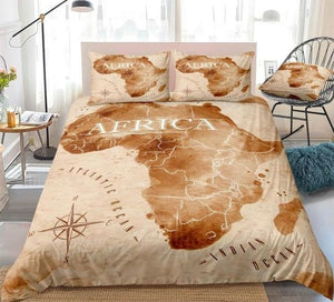 Colorful Watercolor Abstract Africa Map Bedding Set - Beddingify