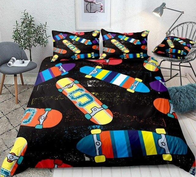 Colorful Skateboard Bedding Set - Beddingify