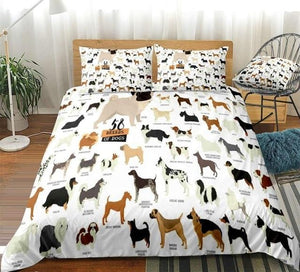 Different Breeds of Dogs Bedding Set - Beddingify