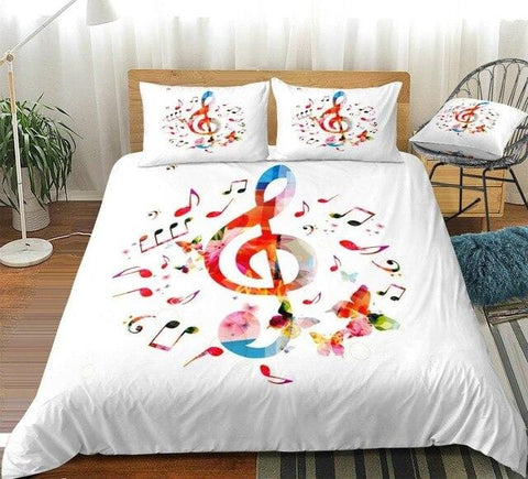Image of Colorful Music Notes Bedding Set - Beddingify