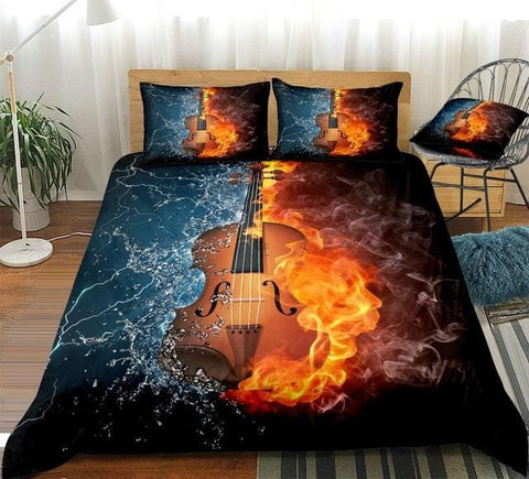 Image of 3D Violin on Fire Water Splash Bedding Set - Beddingify