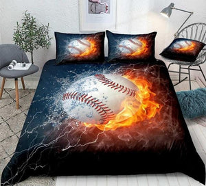 Baseball on Fire and Water Lightning Bedding Set - Beddingify