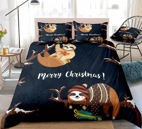Image of Christmas Sloth Handing on Tree Bedding Set - Beddingify