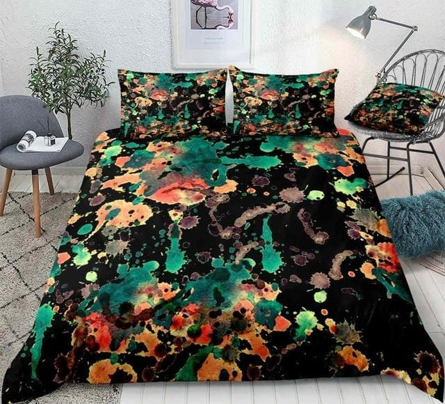Watercolor Splatter Red Green Bedding Set - Beddingify