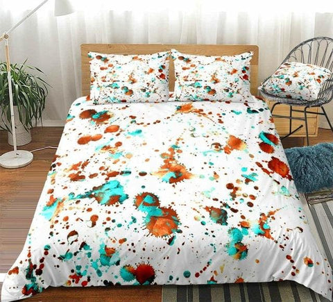 Image of Watercolor Splatter Abstract Boho Bedding Set - Beddingify