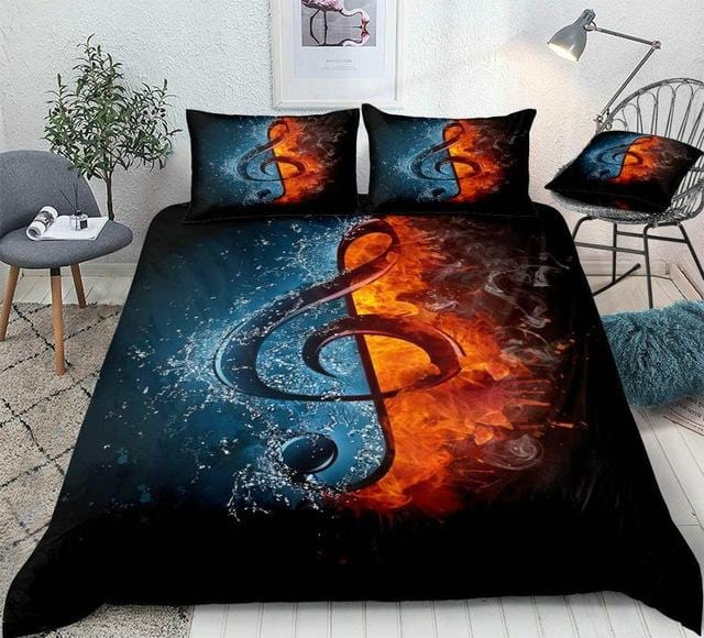 Music Note in Fire and Water Bedding Set - Beddingify