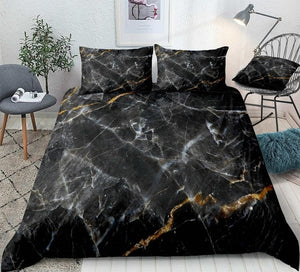 Marble Set Black Gold Bedding Set - Beddingify