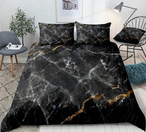 Image of Marble Set Black Gold Bedding Set - Beddingify