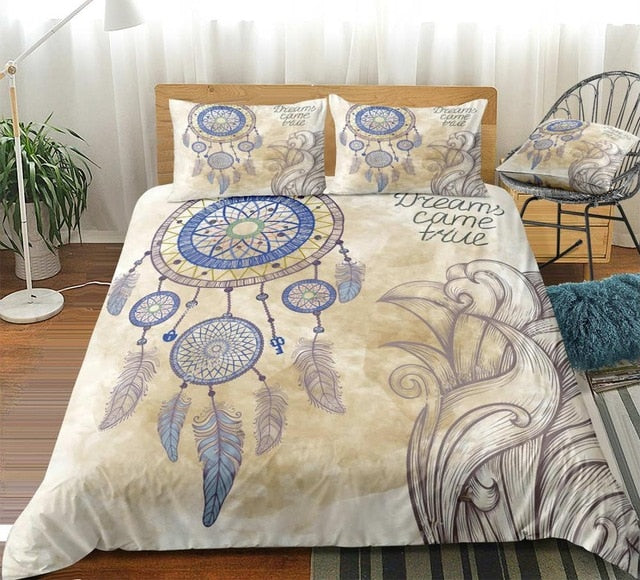 Boho Feathers Blue Dreamcatcher Bedding Set - Beddingify