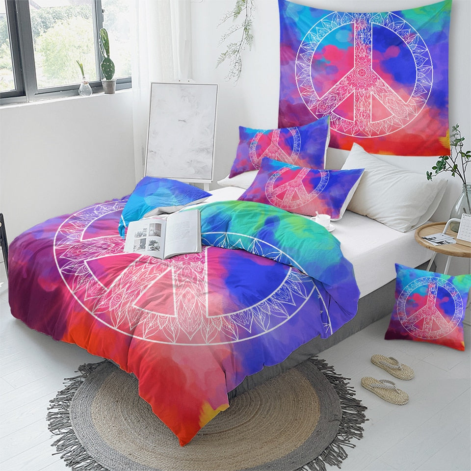 Peace Hippie Bedding Set - Beddingify
