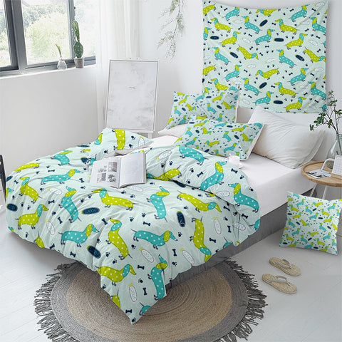 Image of Polka Dot Dachshund Bedding Set - Beddingify