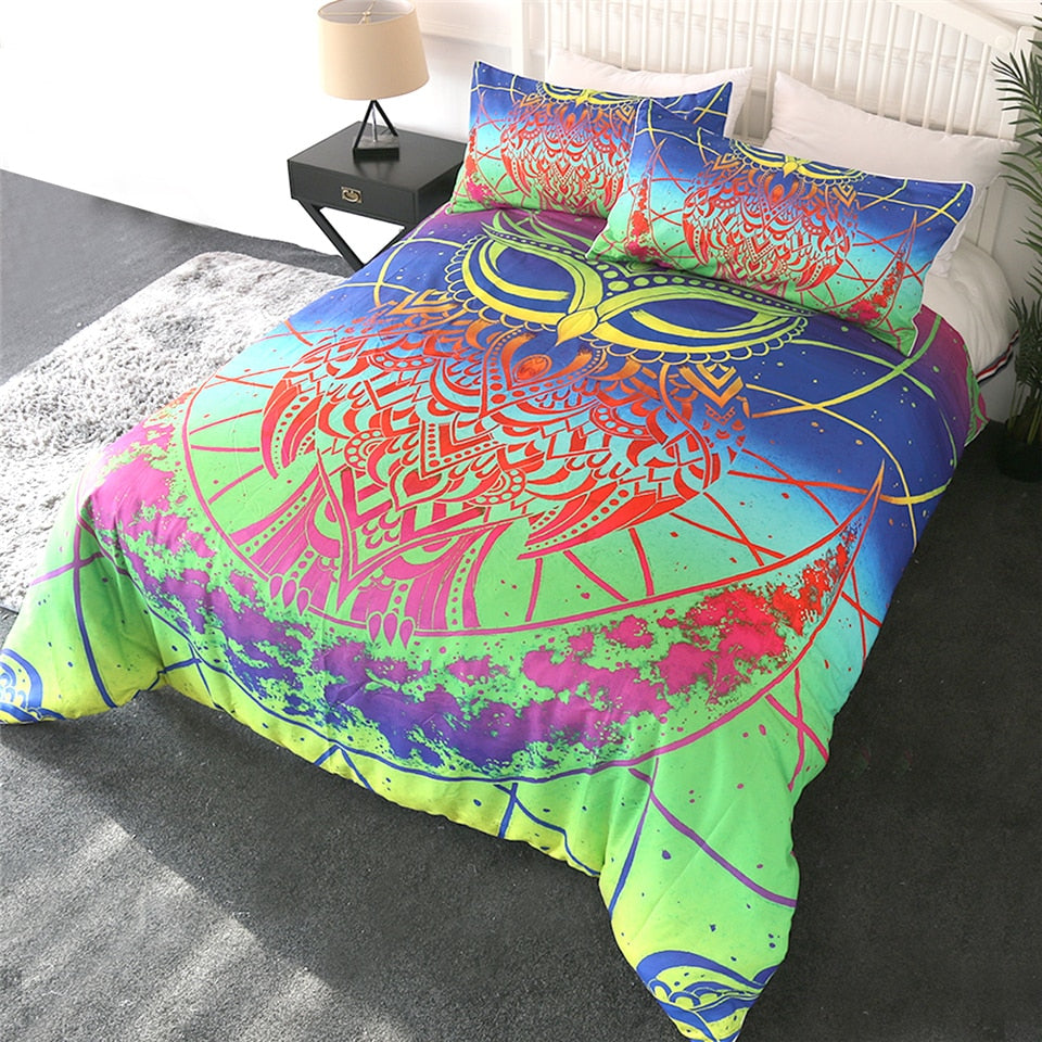 Rainbow Owl Bedding Set - Beddingify