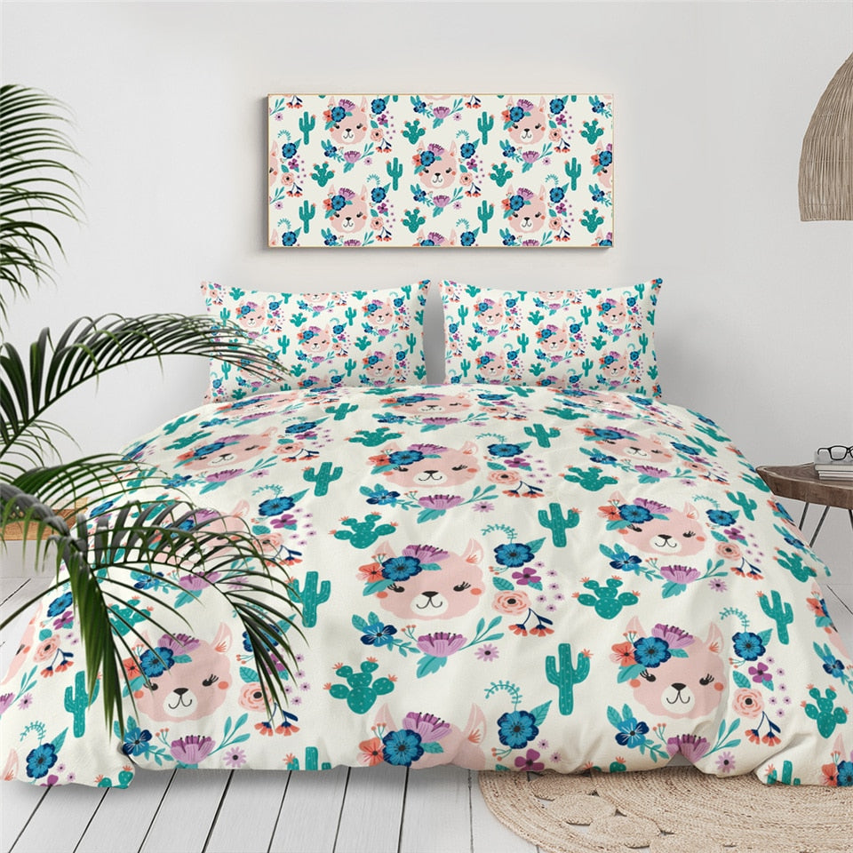 Green Llama Alpaca Bedding Set - Beddingify