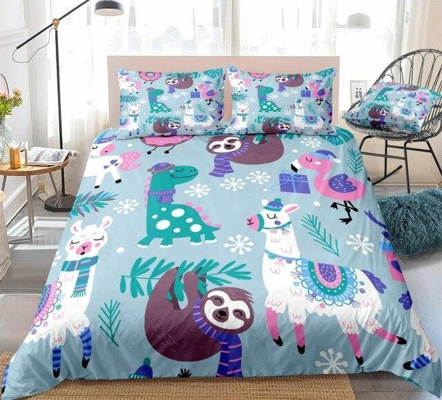 Alpaca And Sloth Bedding Set - Beddingify