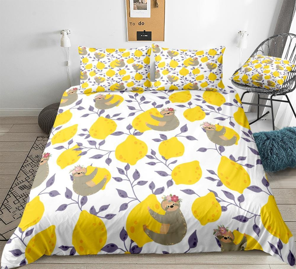 Lemon With Sloth Bedding Set - Beddingify