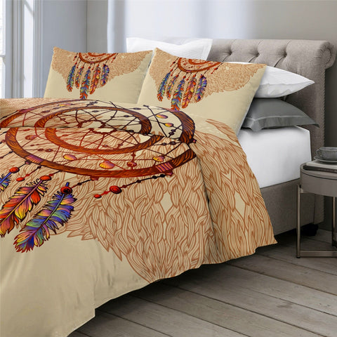 Image of Feathers Gemstones Dreamcatcher Bedding Set - Beddingify