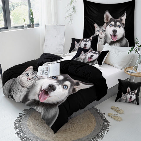 Husky And Cat Bedding Set - Beddingify