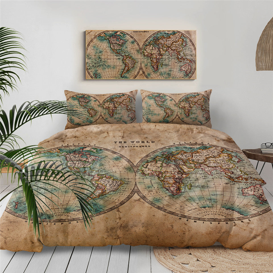 Geography World Map Bedding Set - Beddingify