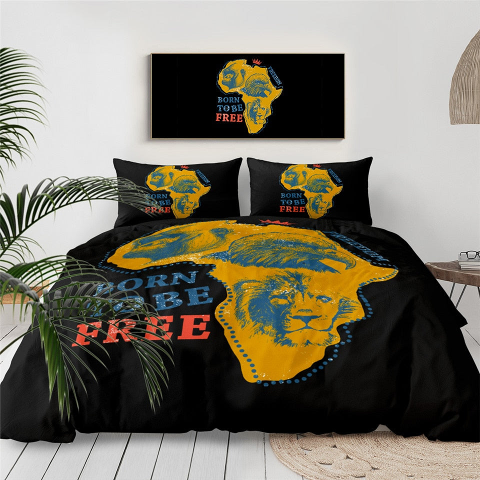 Born To Be Free African Map Bedding Set - Beddingify