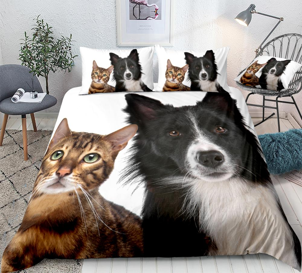 Cute Dog And Cat Bedding Set - Beddingify