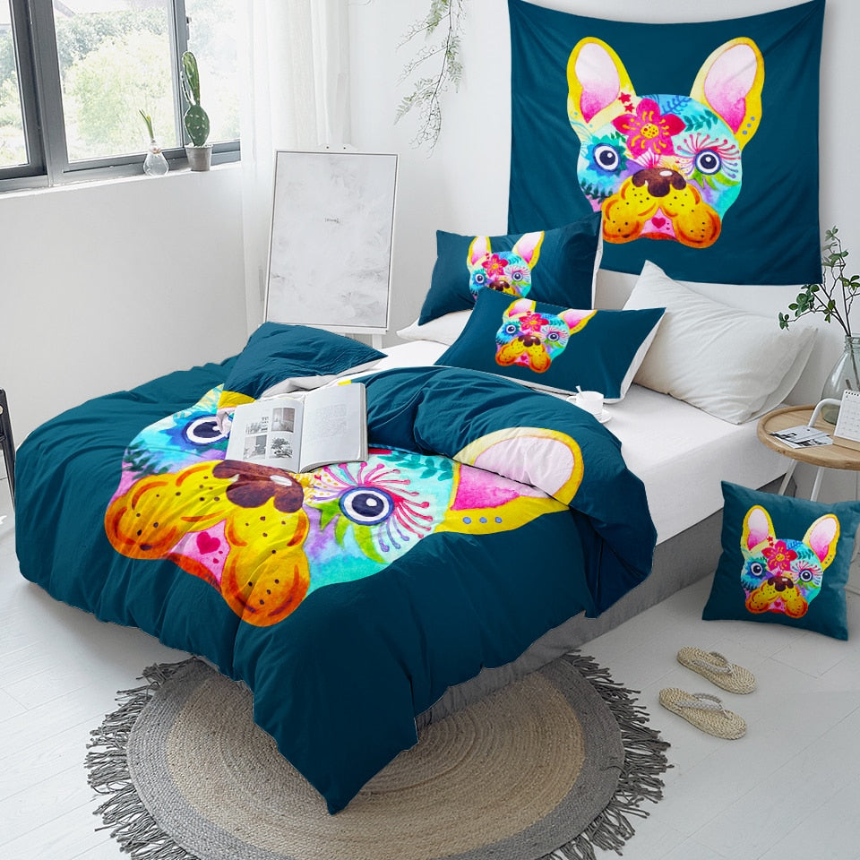 Colorful French Bulldog Bedding Set - Beddingify