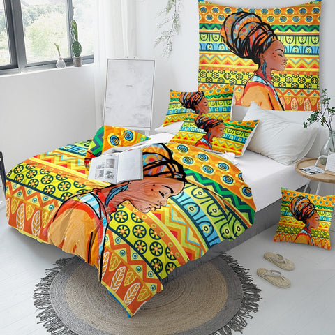 Geometric African Woman Bedding Set - Beddingify