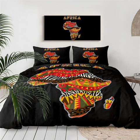 Image of African Themed Map Bedding Set - Beddingify