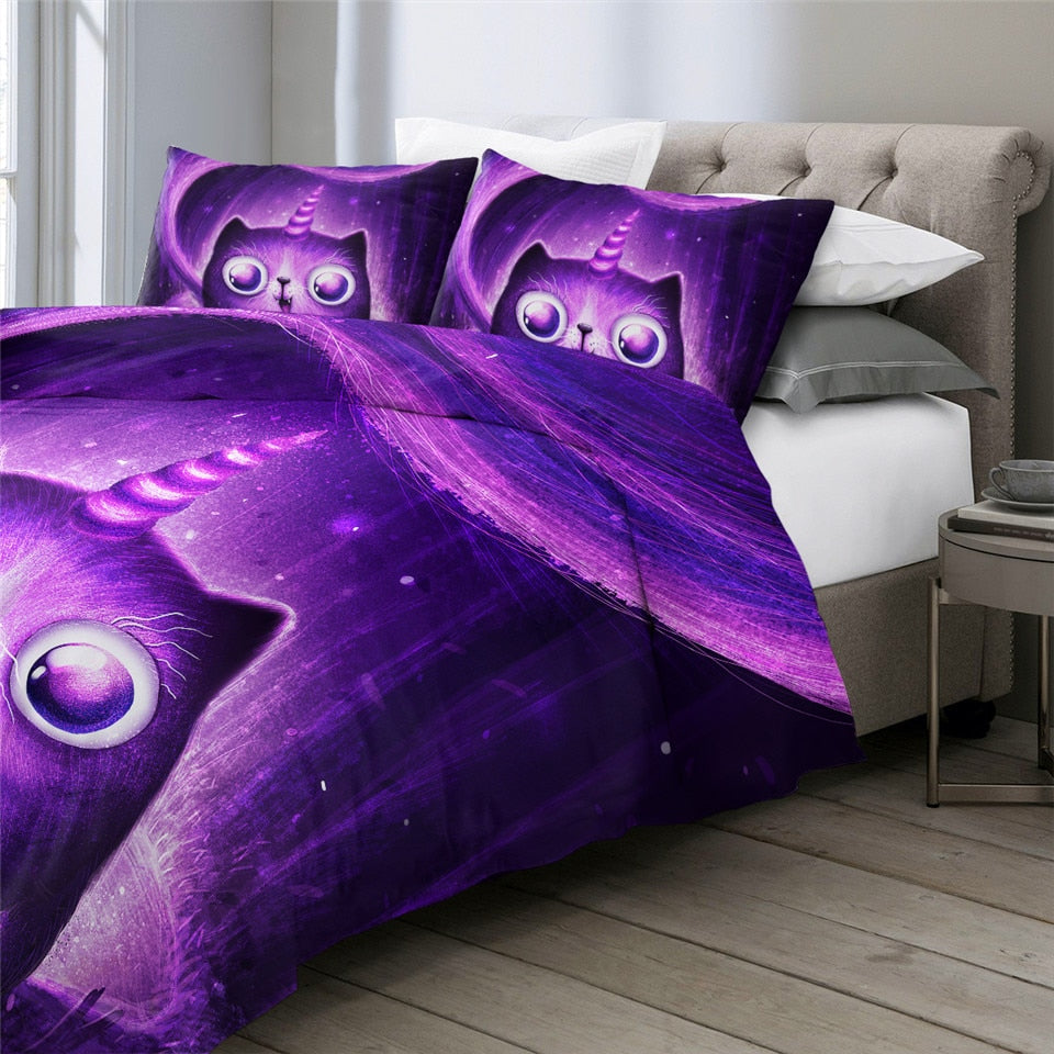 Purple Caticorn Bedding Set - Beddingify