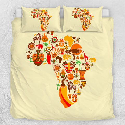 Image of African Cultural Map Bedding Set - Beddingify