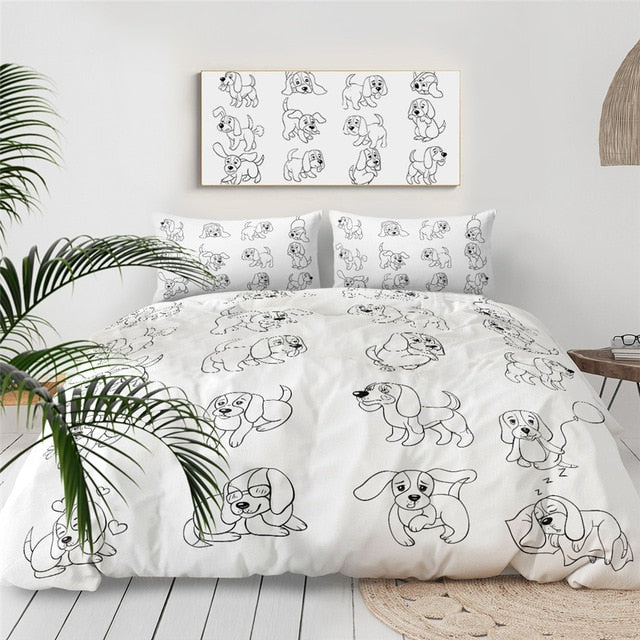 Hand Drawing Puppy Bedding Set - Beddingify