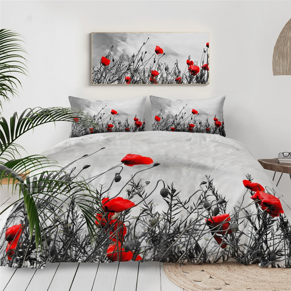 Red Flowers Bedding Set - Beddingify