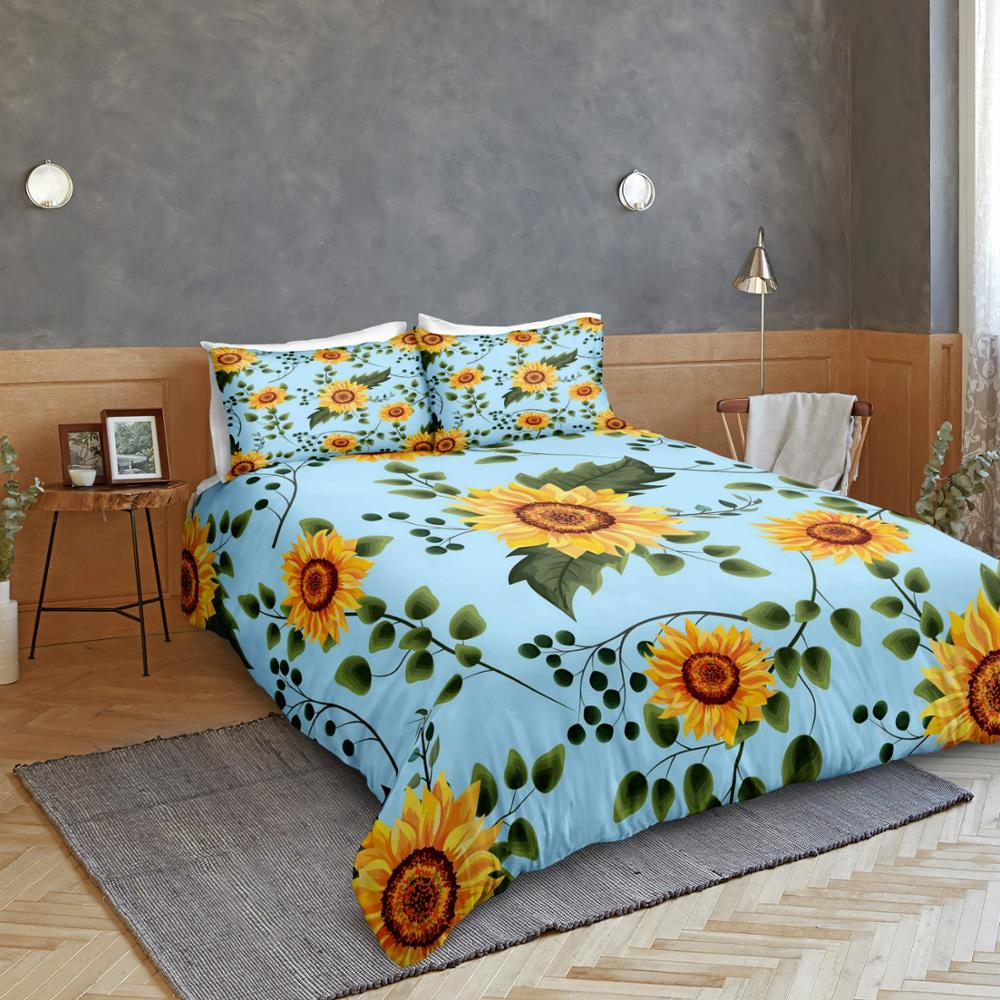 Blue Sunflower Bedding Set - Beddingify