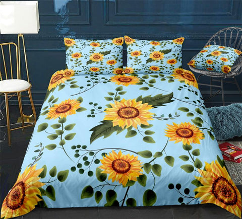 Image of Blue Sunflower Bedding Set - Beddingify