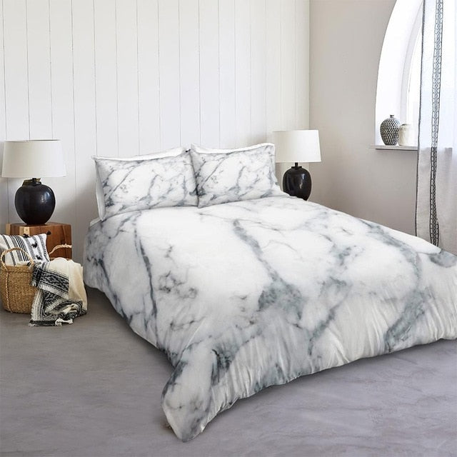 Gray Marble Bedding Set - Beddingify