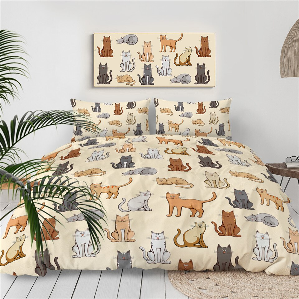 Cute Cats Themed Bedding Set for Kids - Beddingify