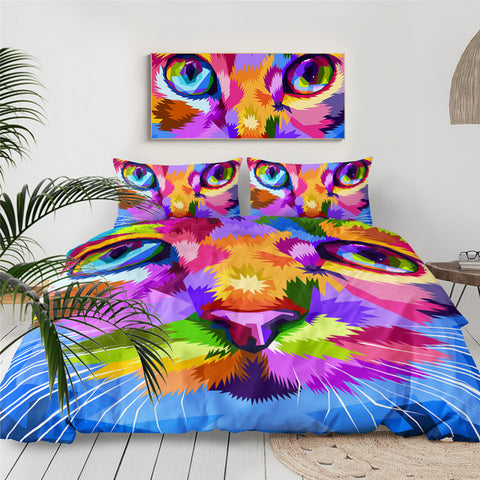 Rainbow Cat Face Bedding Set - Beddingify