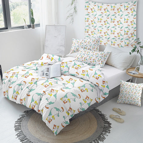 Cartoon Cat Bedding Set For Kids - Beddingify