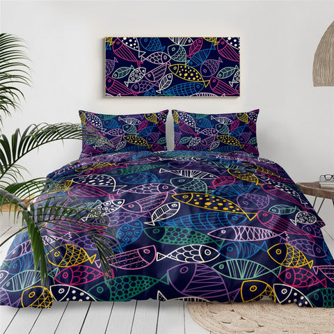 Image of Blue Fish Bedding Set - Beddingify