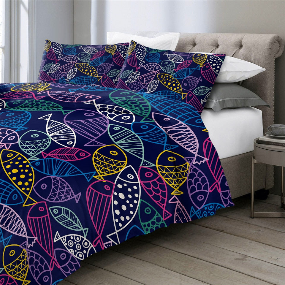 Blue Fish Bedding Set - Beddingify