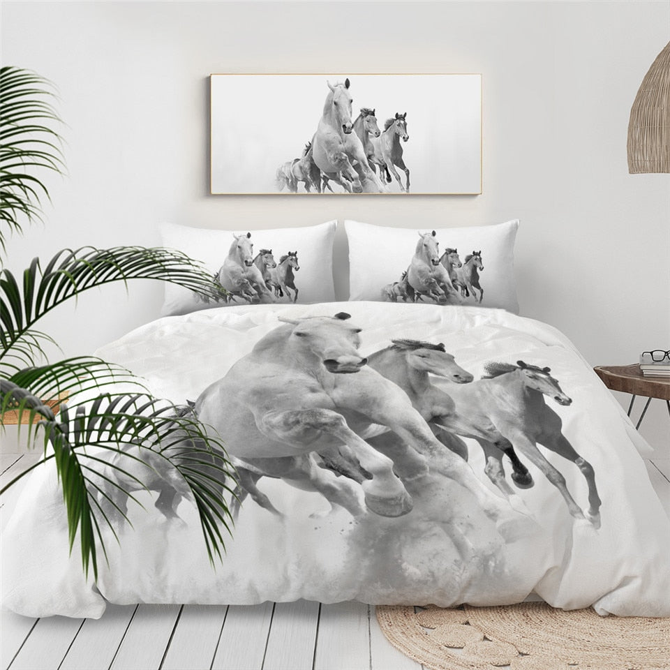 White Horses Bedding Set - Beddingify