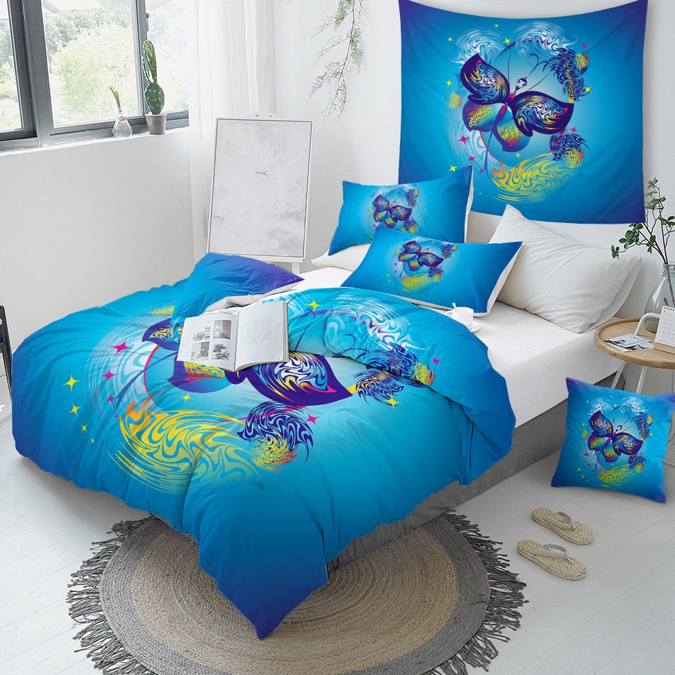 Blue Butterfly Bedding Set - Beddingify