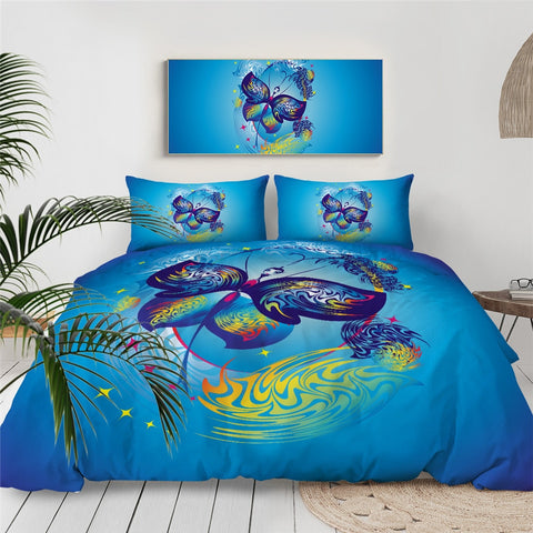Image of Blue Butterfly Bedding Set - Beddingify
