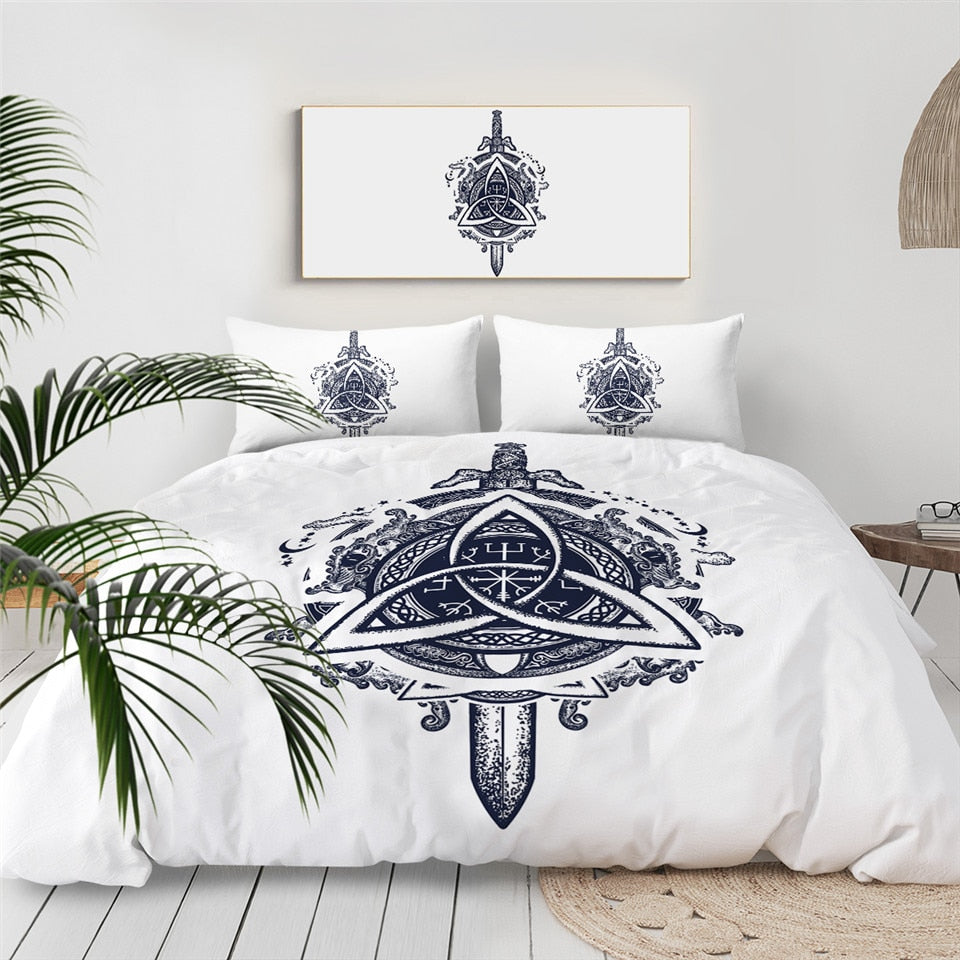 Sword Dragon Ancient Symbols Bedding Set - Beddingify
