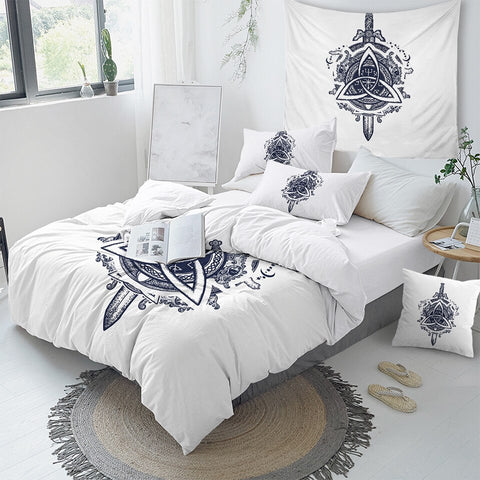 Image of Sword Dragon Ancient Symbols Bedding Set - Beddingify