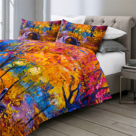 Image of Autumn Forest Leaf Nature Bedding Set - Beddingify