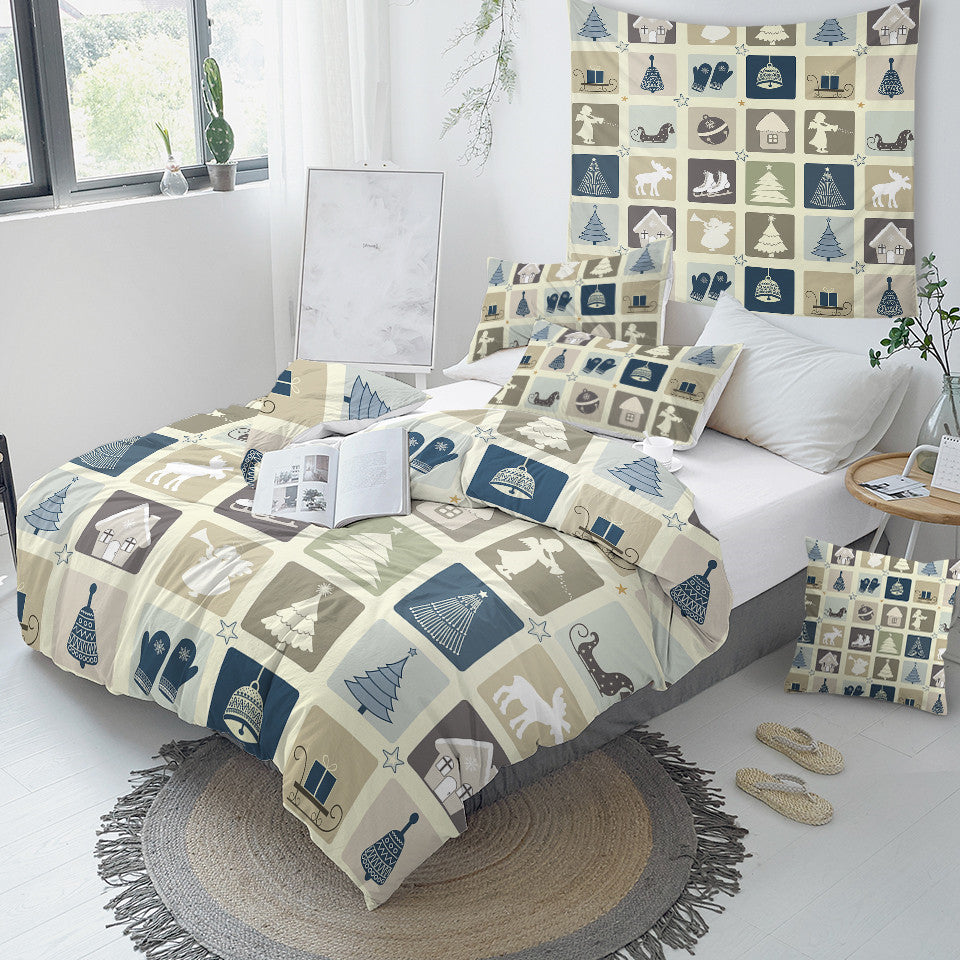 Vintage Christmas Themed Bedding Set - Beddingify